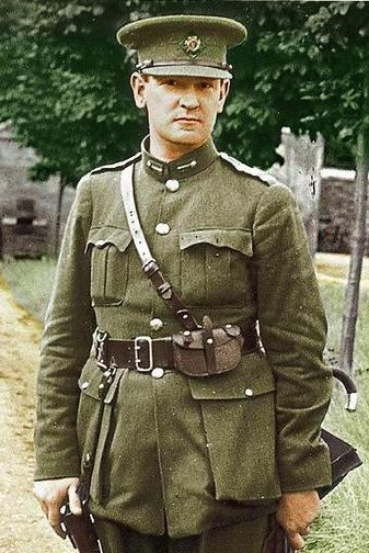 Photo of Michael Collins in uniform standing Colourized by macredmond2013