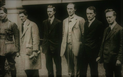 Photo 1922 meeting of pro- & anti-Treaty army officers, to avert Civil War: left to right Sean McEoin (Pro-Treaty), Sean Moylan (IRA), Eoin O'Duffy (Pro-Treaty), Liam Lynch (IRA), Gearóid O'Sullivan (Pro-Treaty) and Liam Mellows (IRA)