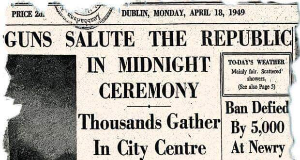 April 1949 Irish independence headlines